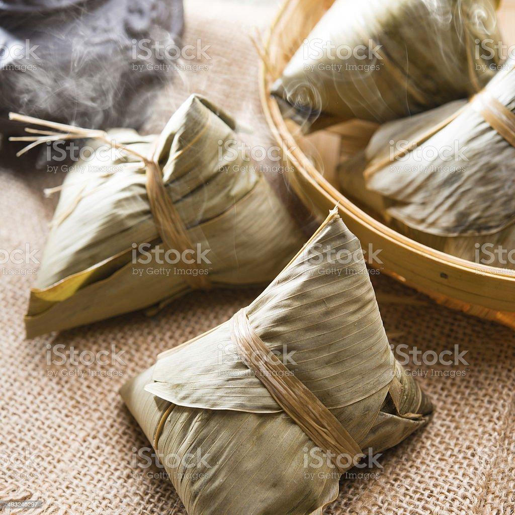 Chinese rice dumpling stock photo