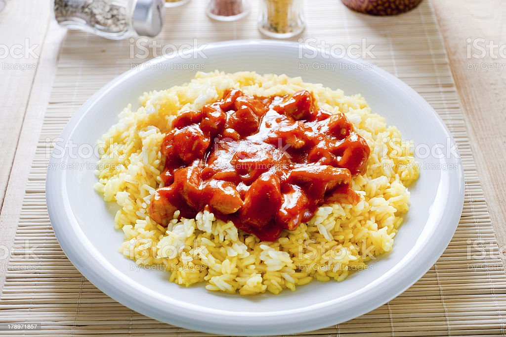 Chinese rice with chicken royalty-free stock photo