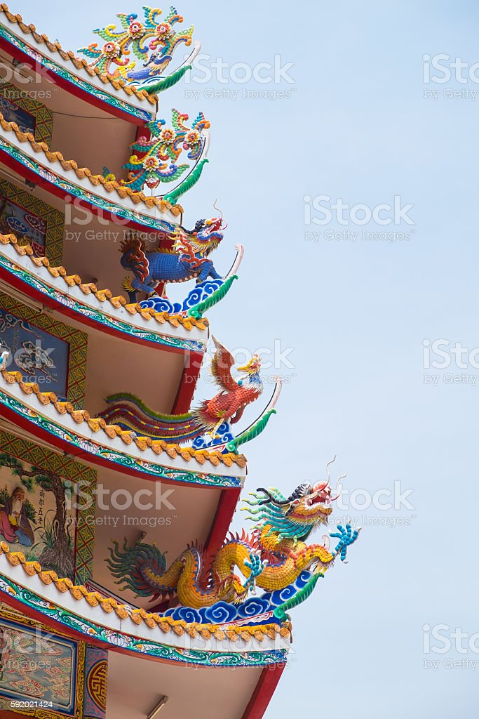 Chinese roof with chinese animal including dragon, swan and kiri stock photo