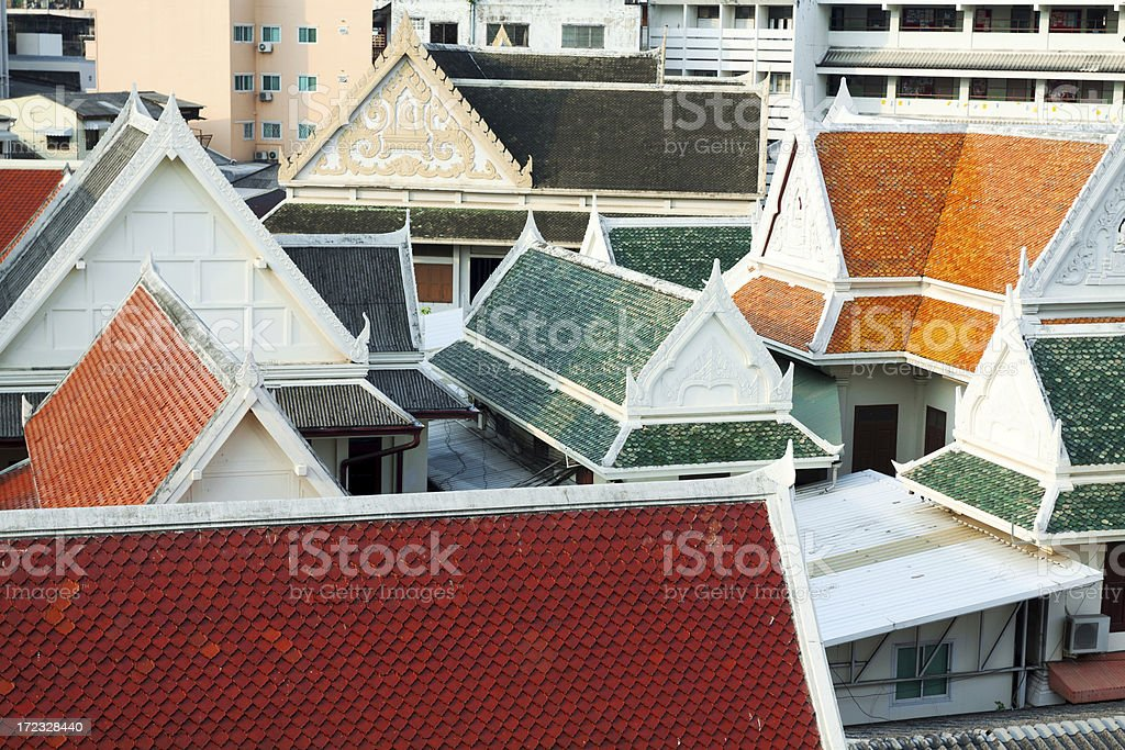 Chinese roofs in Bangkok stock photo