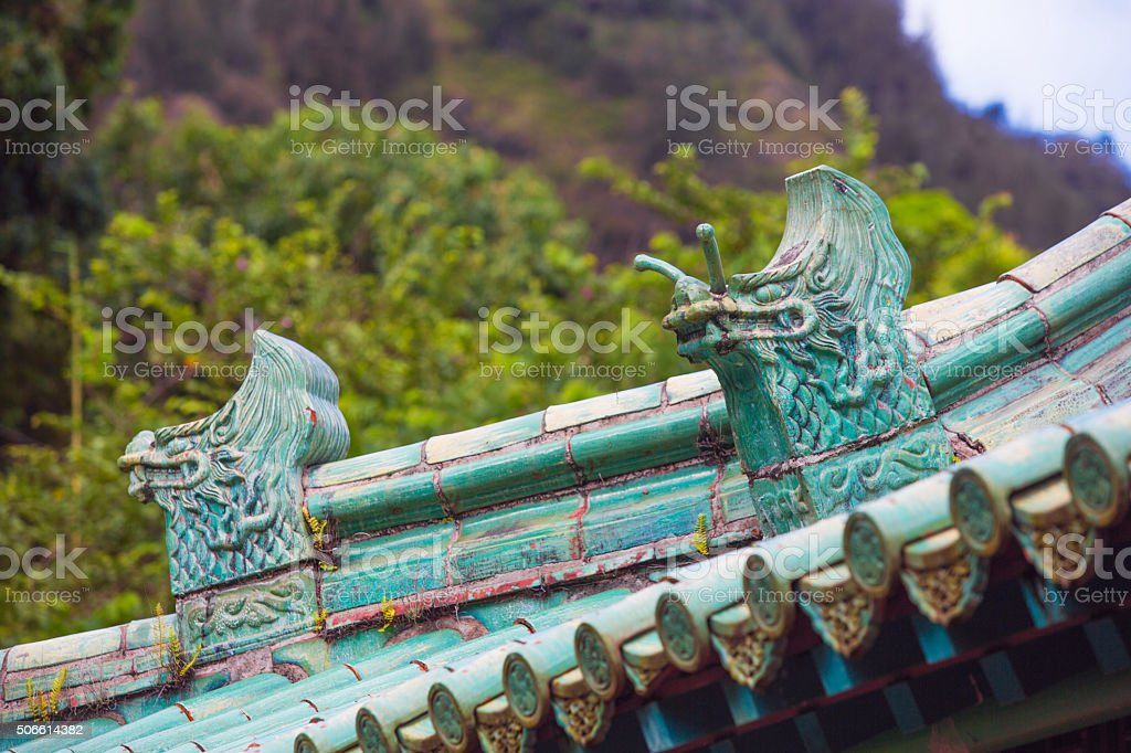 Chinese Rooftop Dragons stock photo