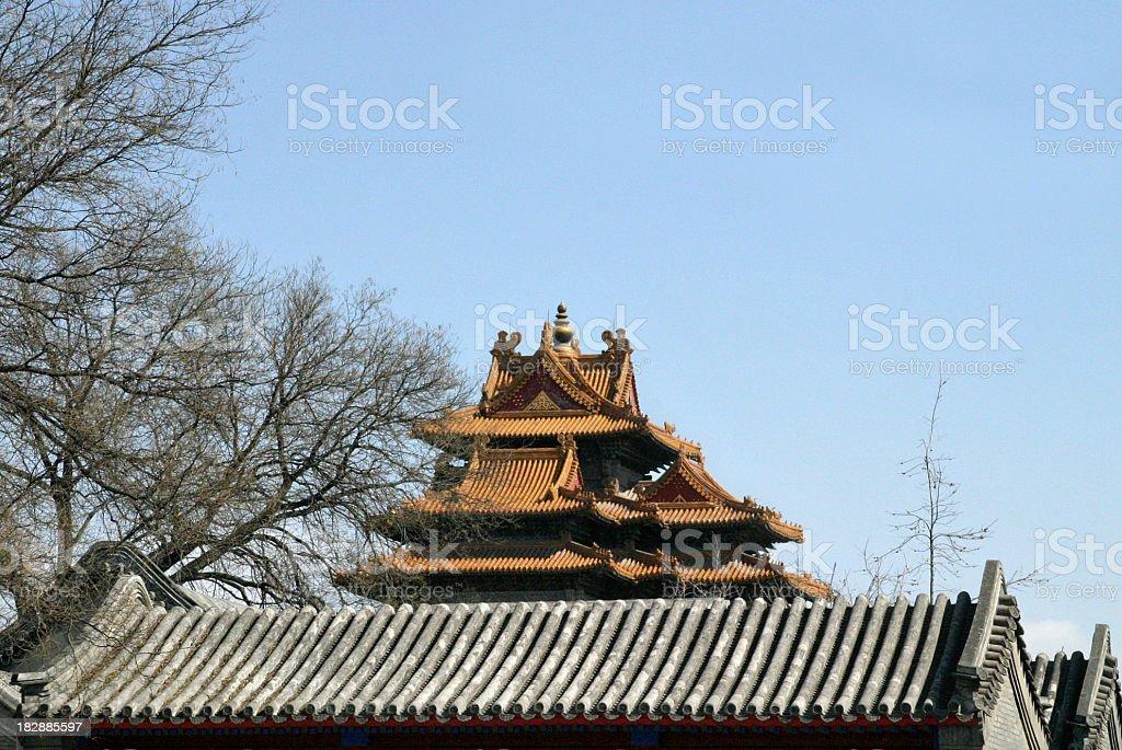 Chinese rooftops Forbidden City Beijing stock photo
