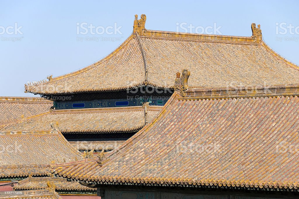 Chinese rooftops stock photo