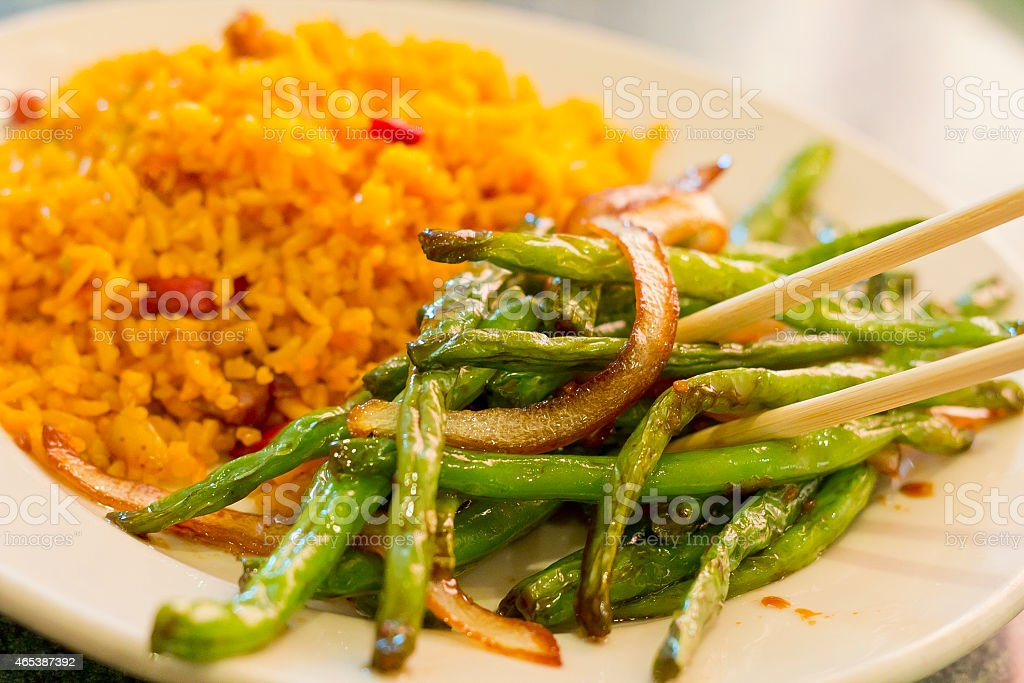 Chinese Sauteed String beans stock photo