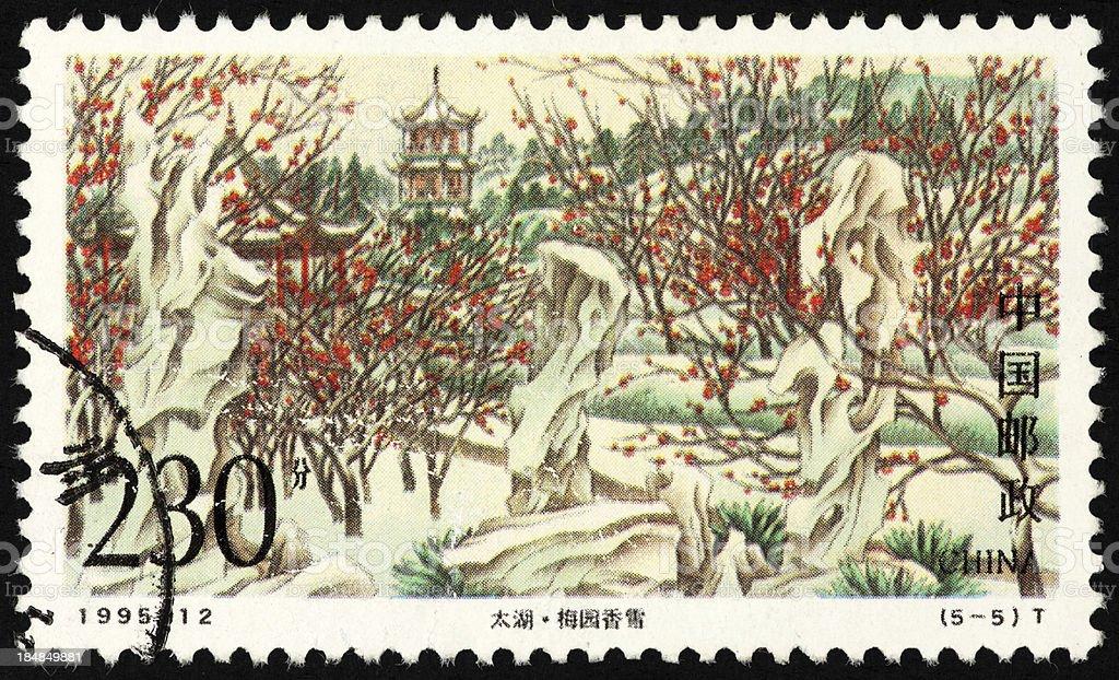 Chinese Scenic postage stamp stock photo