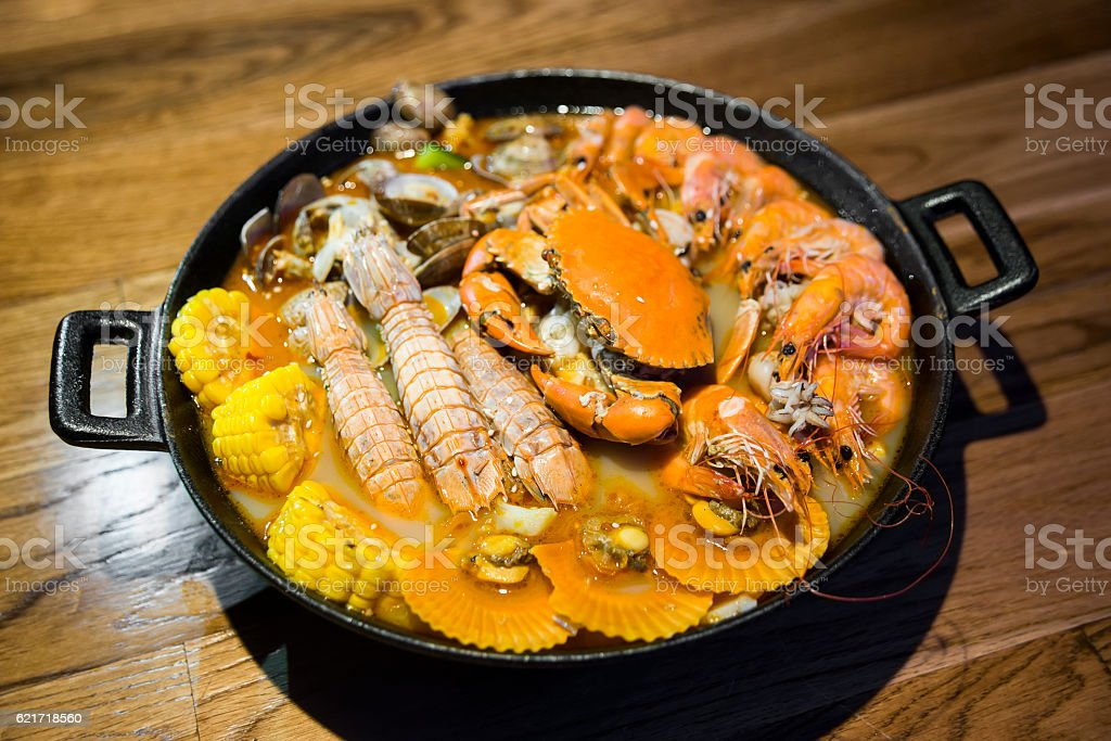 Chinese Seafood Hot Pot stock photo