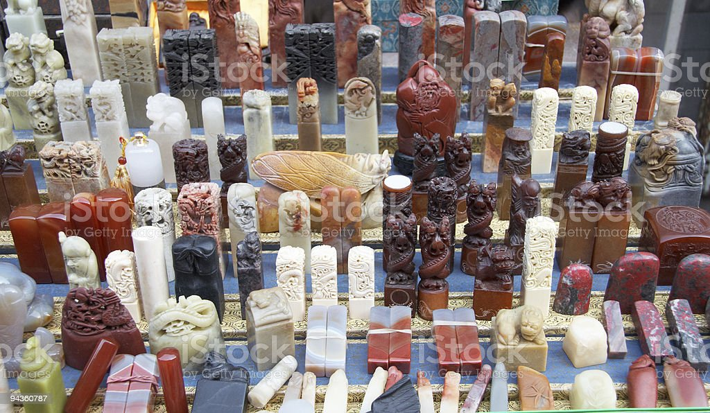chinese seal carving stock photo