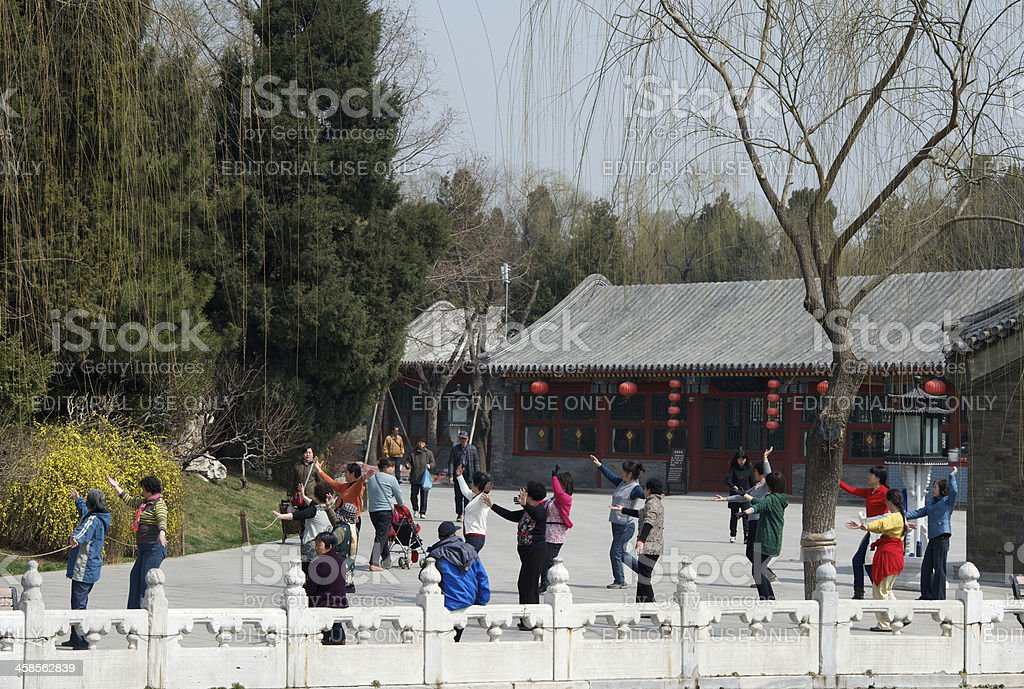 Chinese senior citizens are dancing in Beijing park royalty-free stock photo