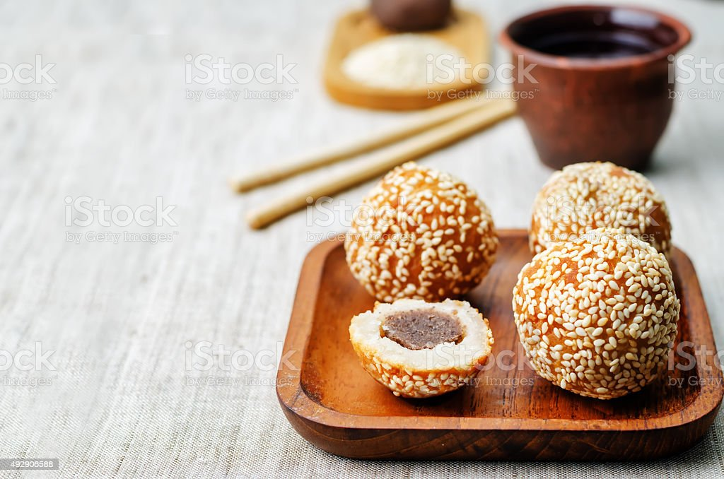 Chinese sesame balls with sweet red bean paste stock photo