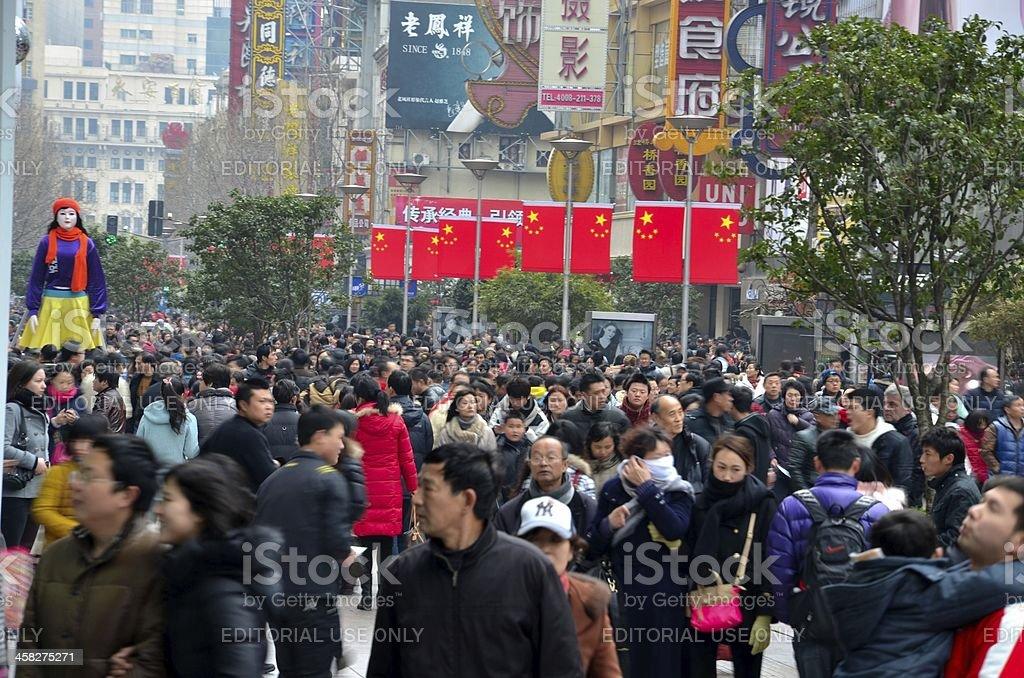 Chinese shoppers throng Shanghai Nanjing Road royalty-free stock photo