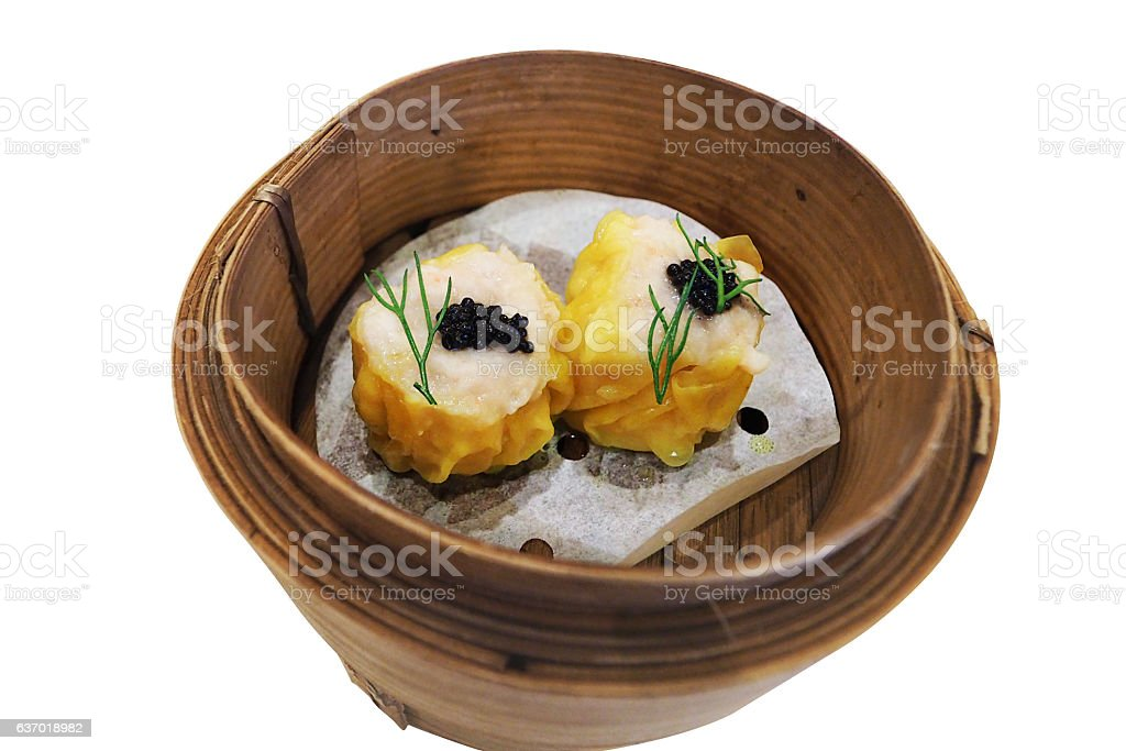 Chinese Shrimp Dumpling topped with Caviar stock photo
