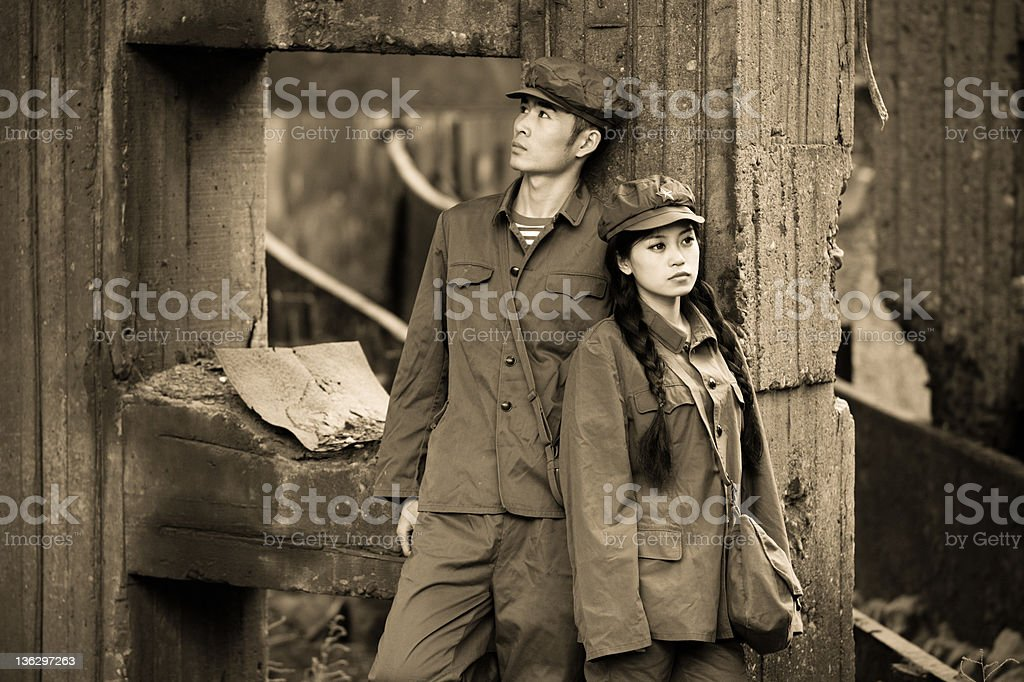 Chinese soldiers in ruins stock photo