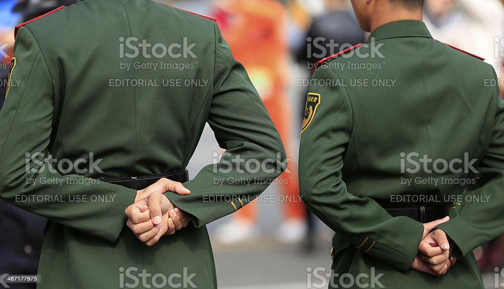 chinese soldiers stock photo