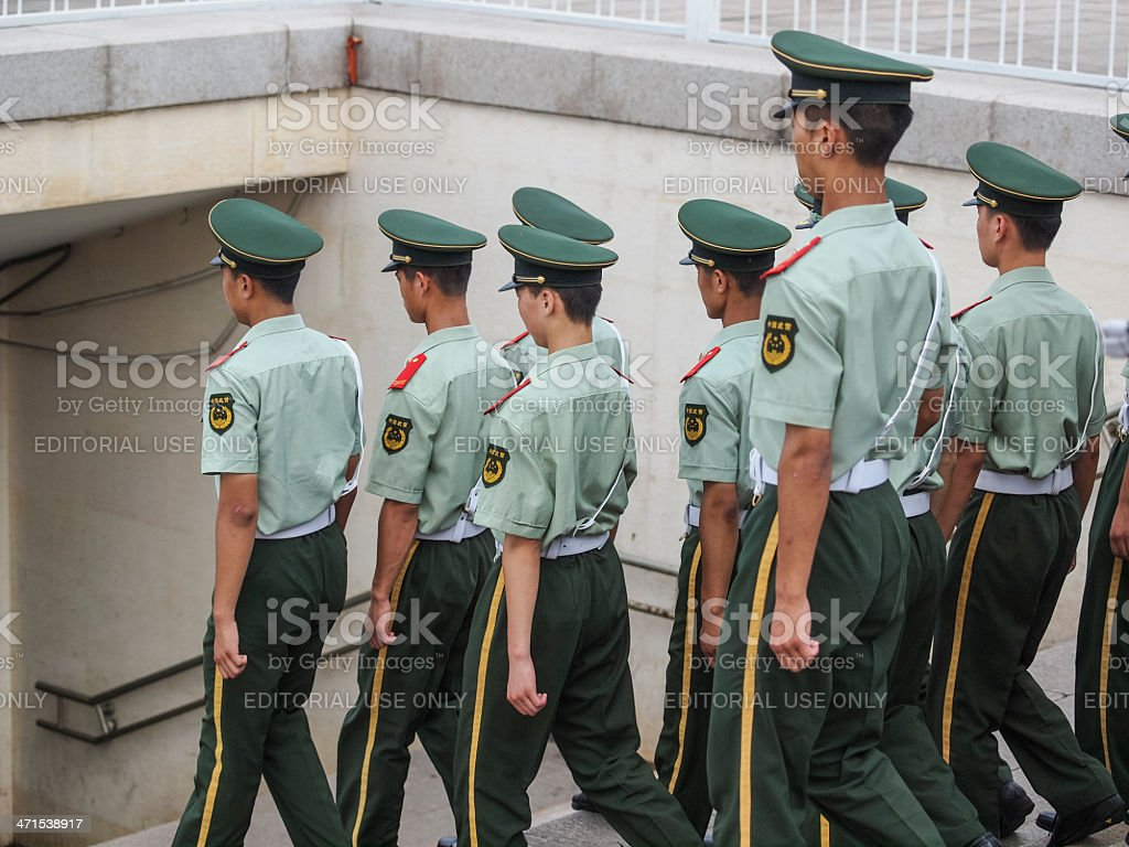 Chinese soldiers Tiananman square stock photo