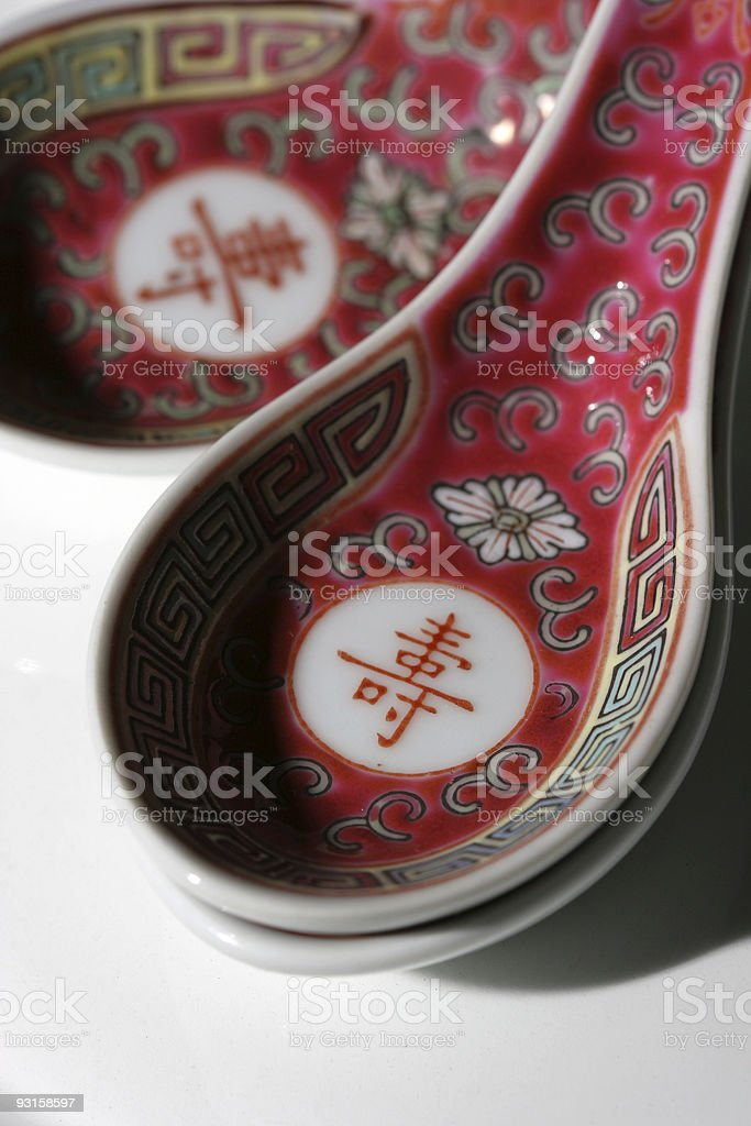 Chinese soup spoons stock photo