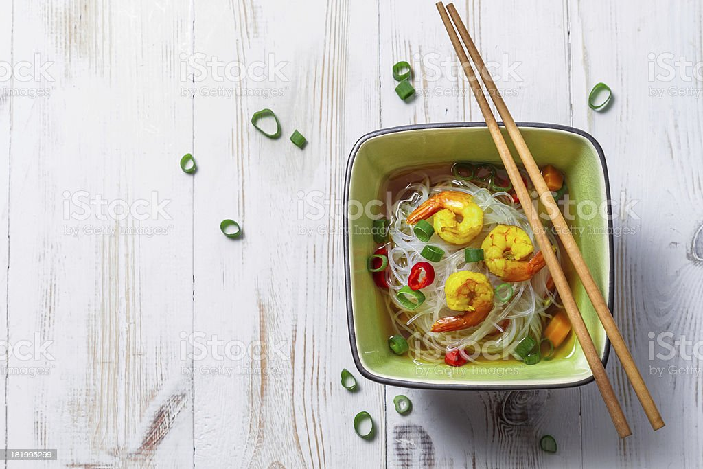 Chinese soup with shrimp and rice noodles royalty-free stock photo