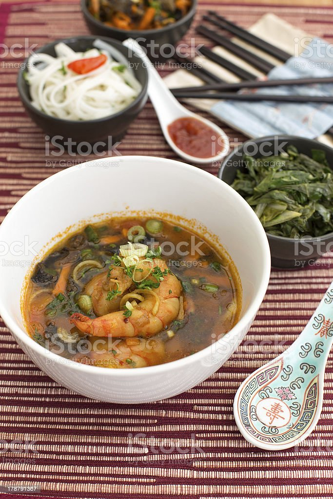 Chinese soup with shrimps royalty-free stock photo