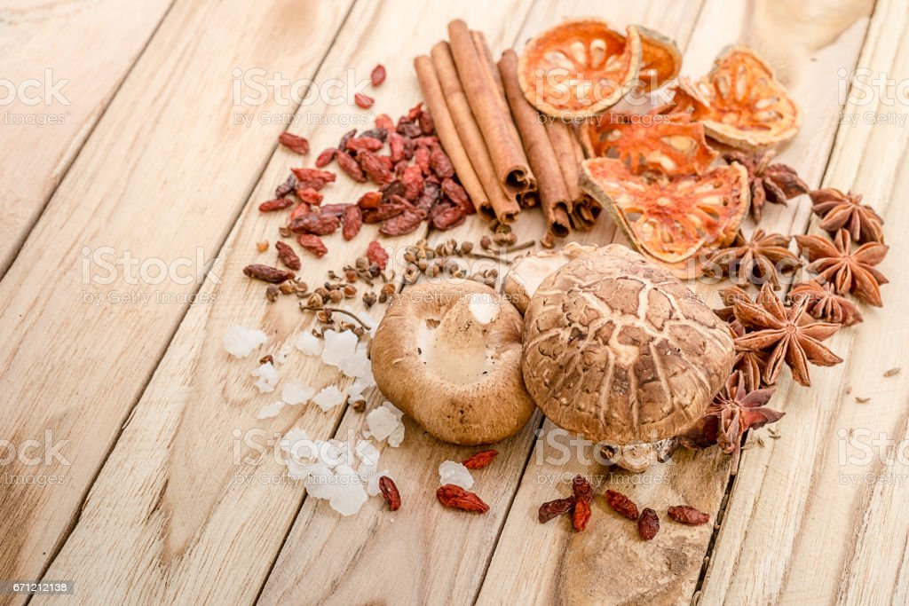 Chinese spices, herb and ingredients for cooking soup or medincine stock photo