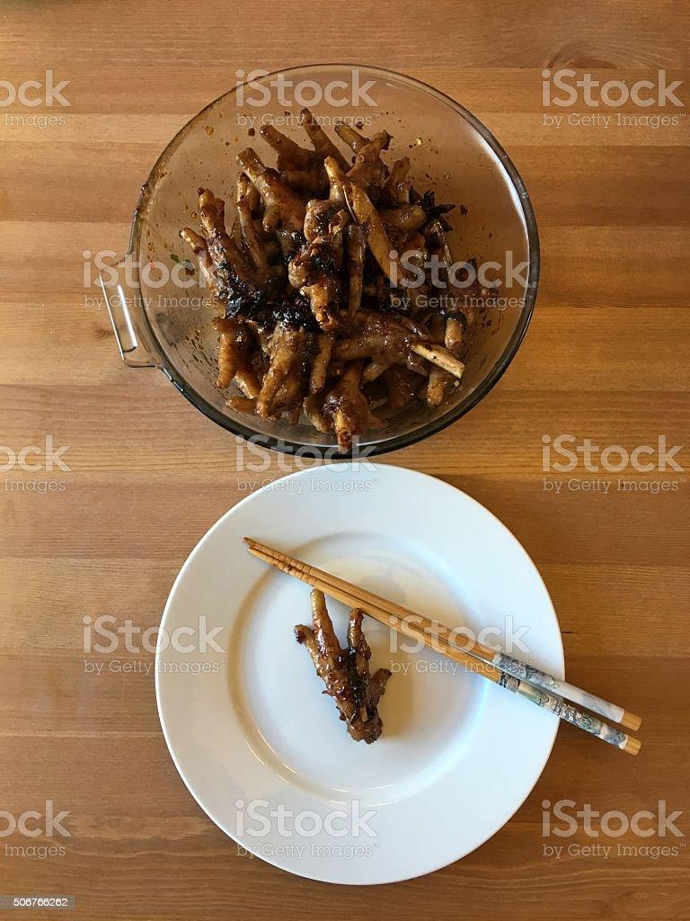 Chinese Spicy Chicken Feet stock photo