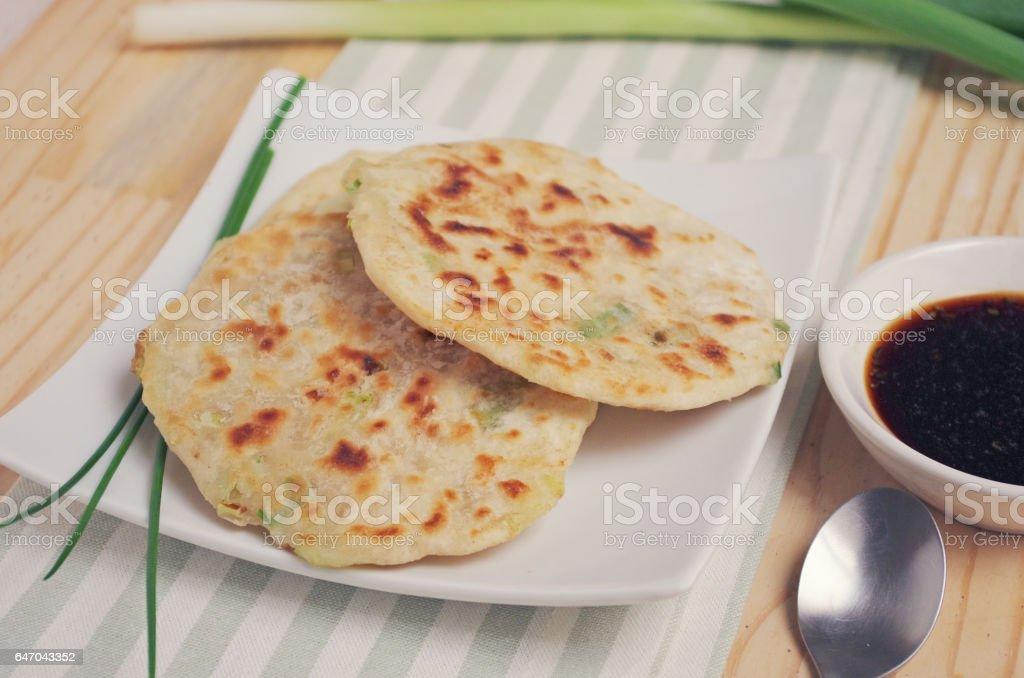 Chinese spring onion pancakes stock photo
