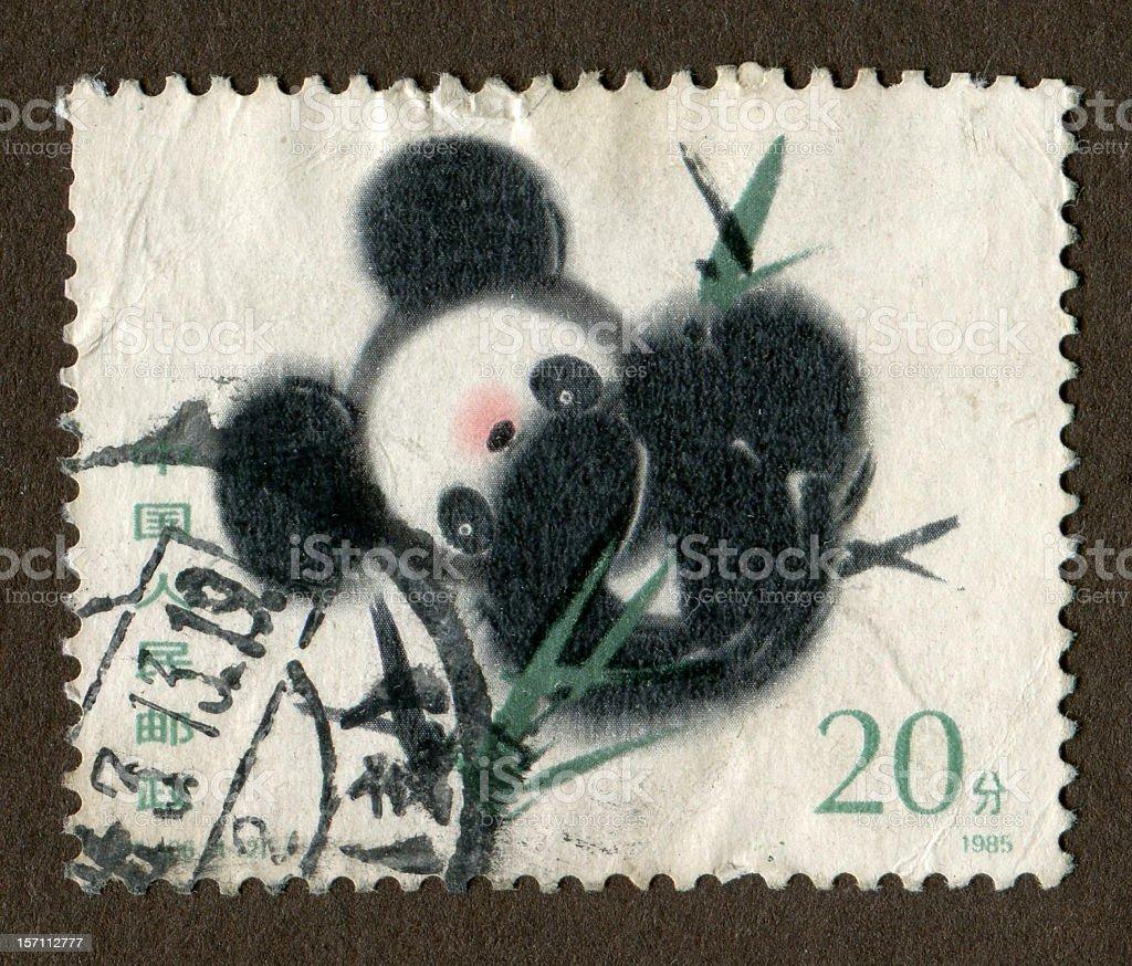 Chinese stamps: Panda stock photo