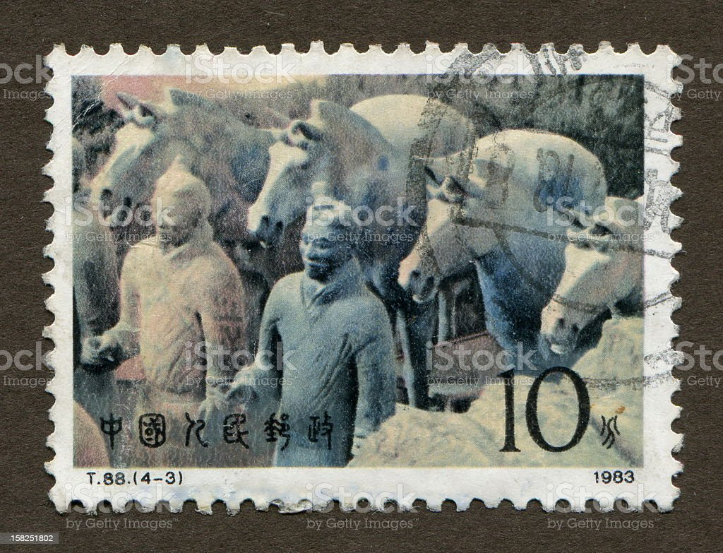 Chinese stamps: Terracotta Army stock photo