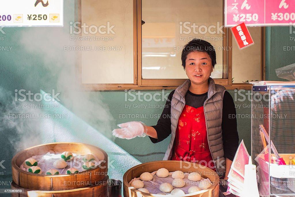 Chinese Steamed Bun Shop at Nagasaki Chinatown stock photo