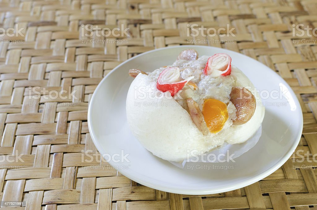 Chinese steamed bun stuffed with  pork royalty-free stock photo