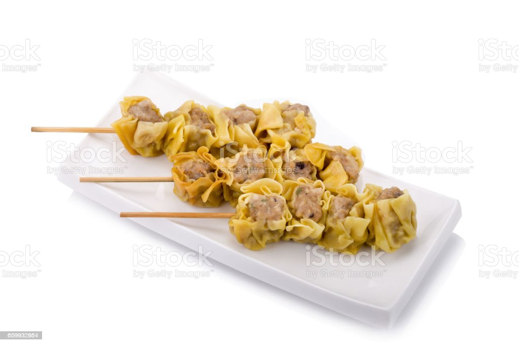 Chinese Steamed Dumpling on white background. stock photo