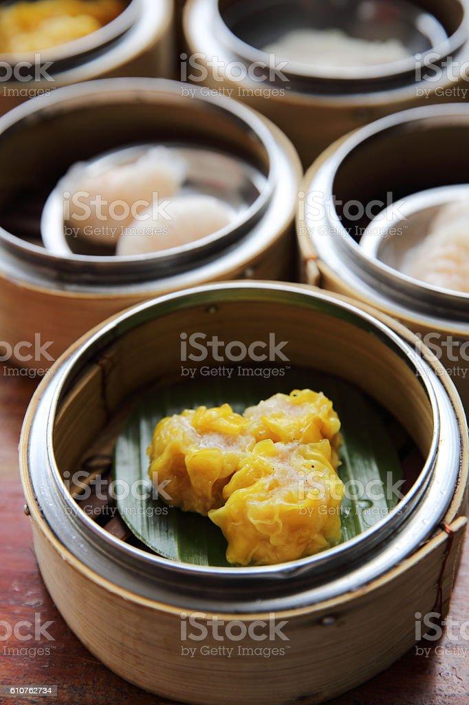 Chinese steamed pork dumplings dim sum stock photo