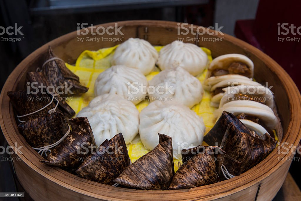 Chinese steamed street food stock photo
