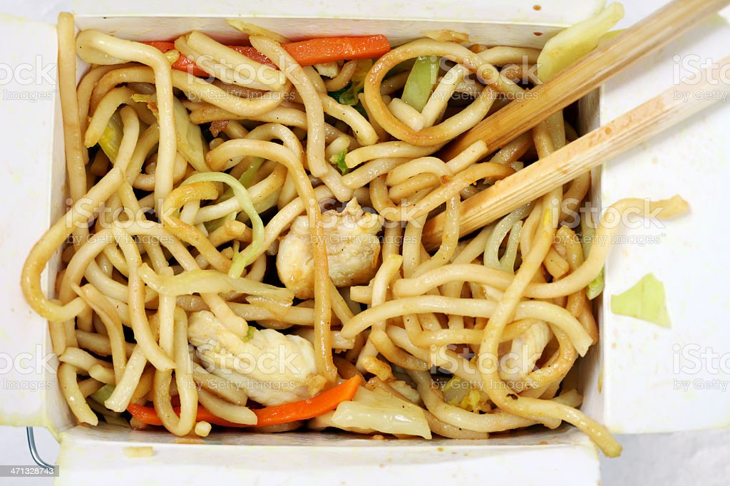 Chinese Stir Fried Noodles in Take Away Box royalty-free stock photo