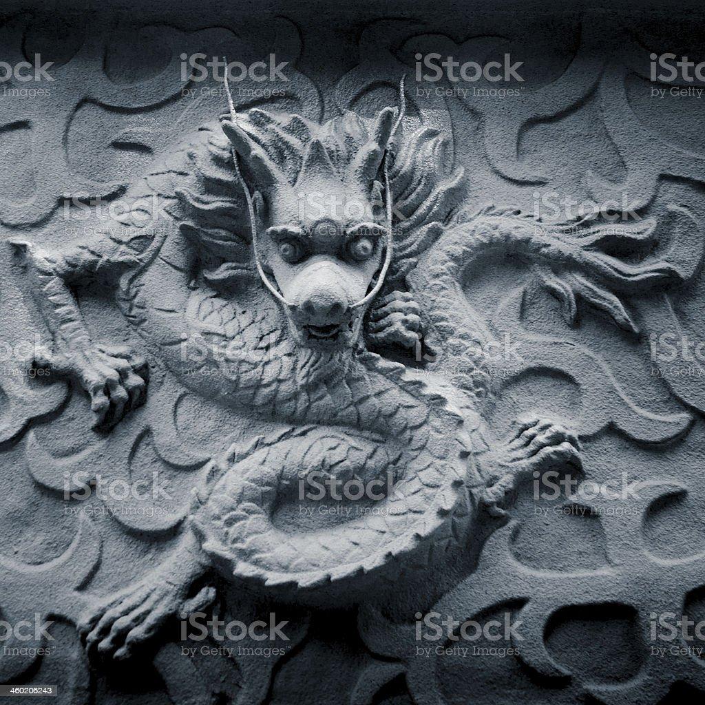 chinese stone dragon statue stock photo