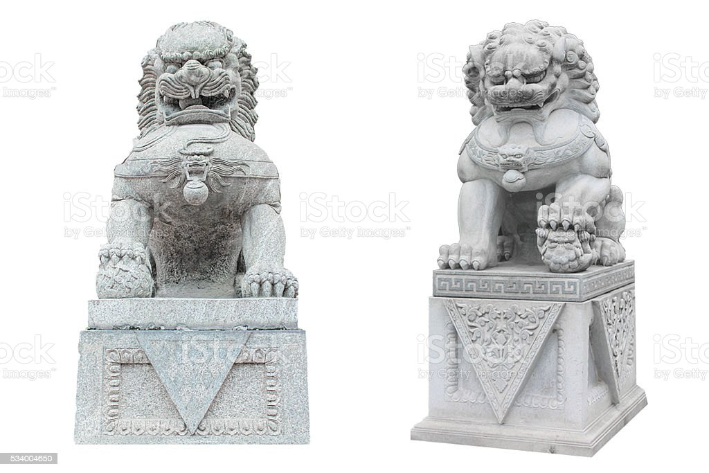 Chinese stone lion stock photo