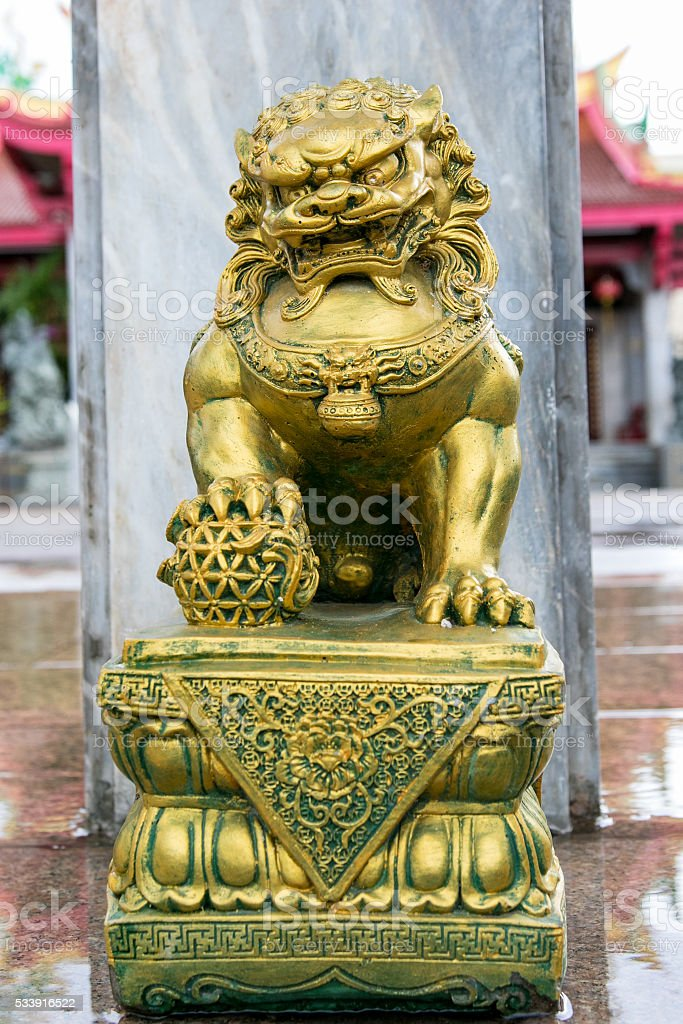 Chinese stone lions carved stock photo