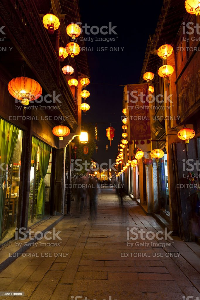 Chinese street at night royalty-free stock photo