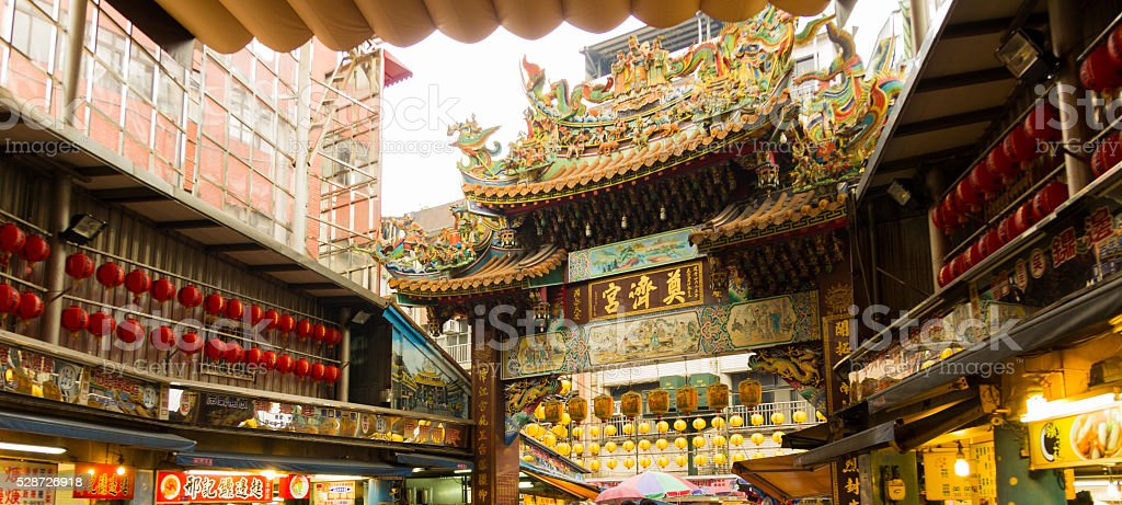 chinese street market and temple in taiwan stock photo