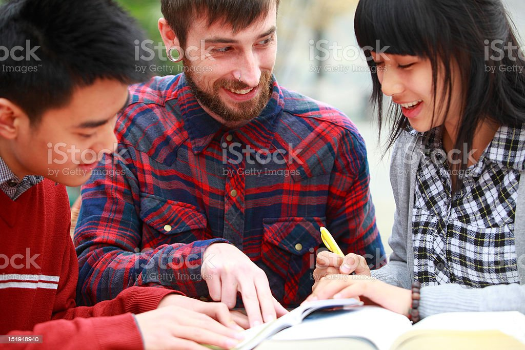 Chinese students learning english stock photo