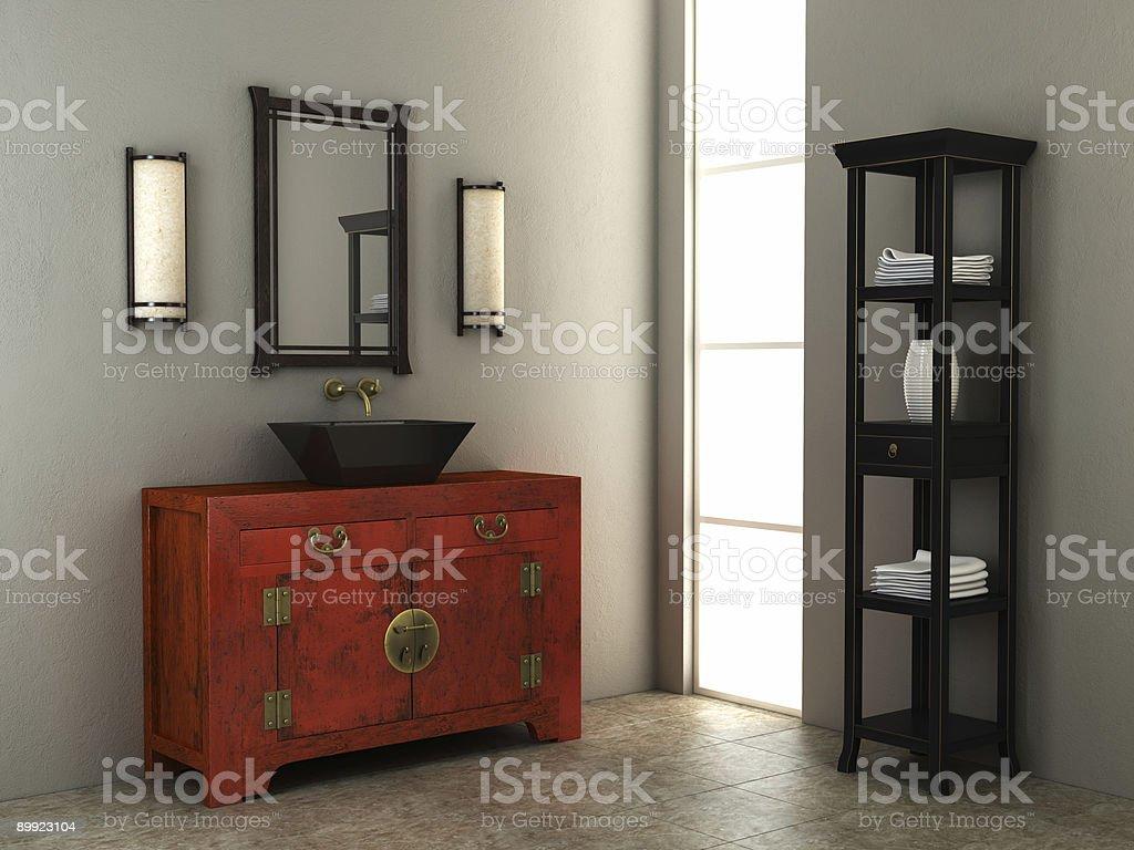 Chinese style bathroom interior royalty-free stock photo