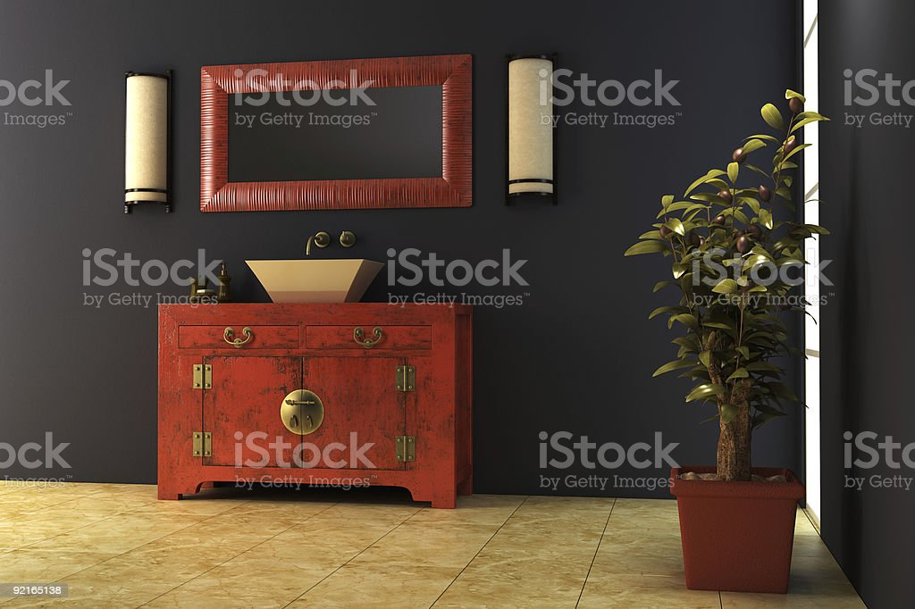 Chinese style bathroom interior royalty-free stock photo