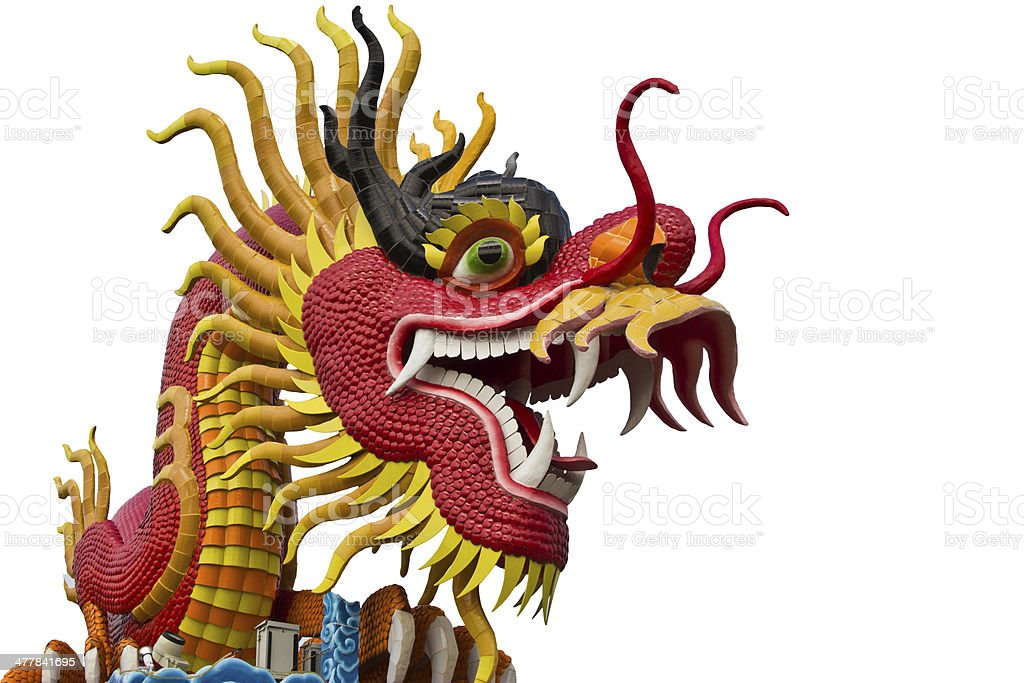 chinese style dragon statue at chonburi royalty-free stock photo