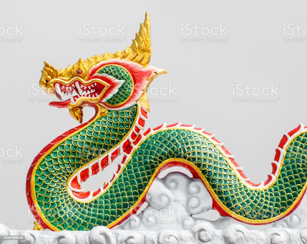 Chinese style dragon statue in thailand stock photo