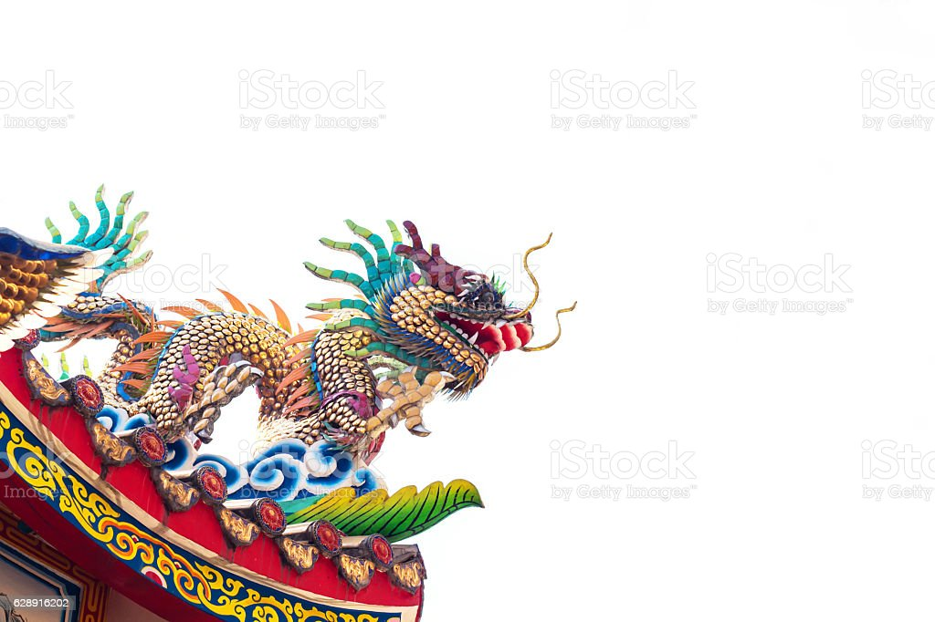 Chinese style dragon statue isolated on white background stock photo