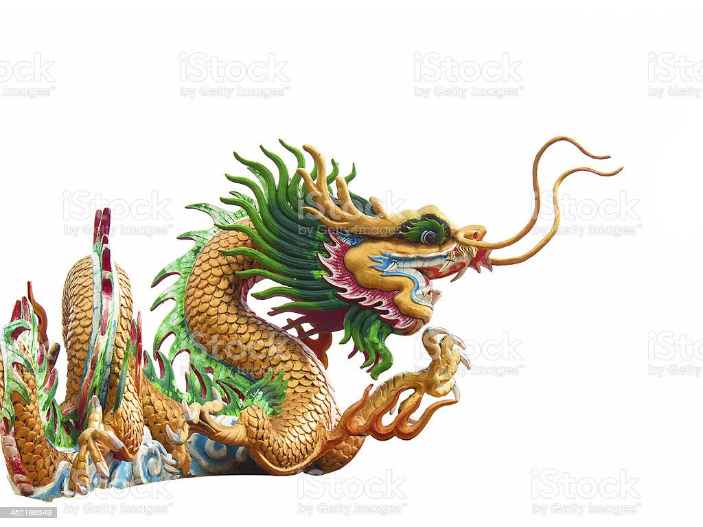 Chinese style dragon statue on white background royalty-free stock photo