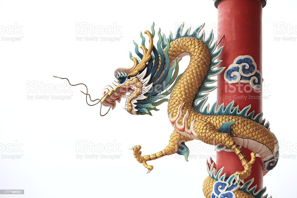 Chinese style dragon statue on white isolated royalty-free stock photo