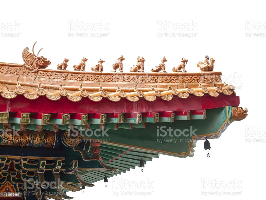 Chinese style eaves, a part of roof, isolated royalty-free stock photo