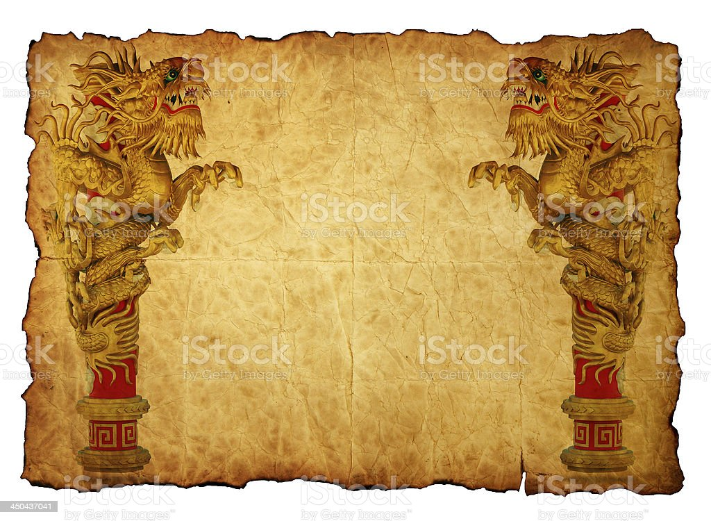 Chinese style gold dragon in old paper royalty-free stock photo