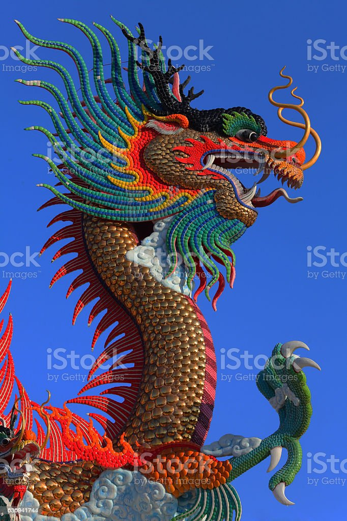 Chinese style golden dragon statue stock photo