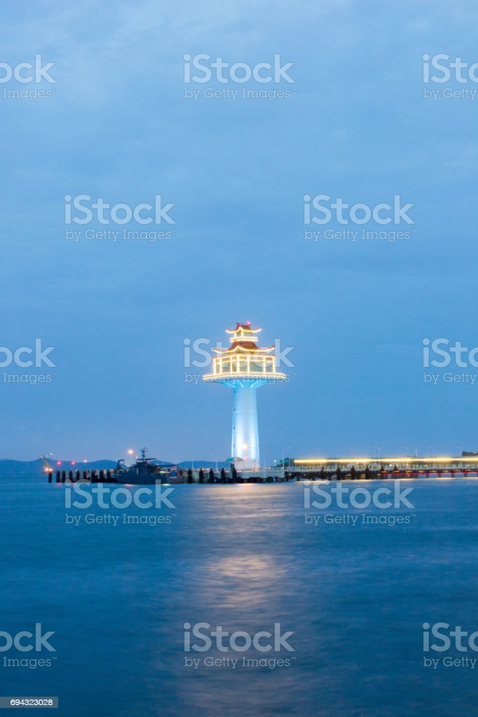 Chinese style Lighthouse at Koh Sichang,Chonburi province,Thailand. stock photo