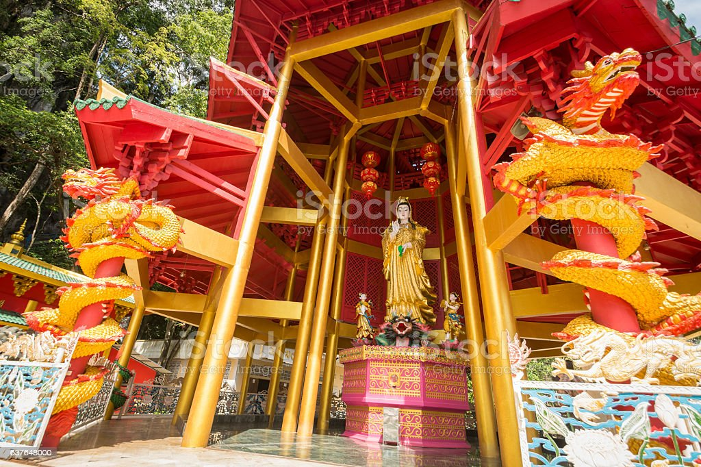 Chinese style pagoda at Tiger Cave Temple. Krabi, Thailand stock photo